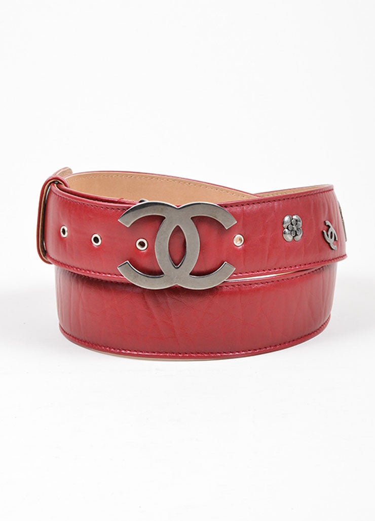Red and Silver Toned Chanel Leather Charm Embellished 'CC' Buckle Belt Frontview