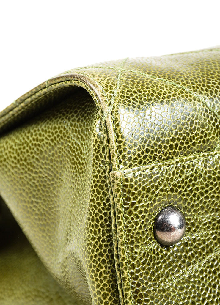 "Olive Green Chanel Caviar Leather Quilted Chain Strap ""Crave"" Tote Bag Detail"