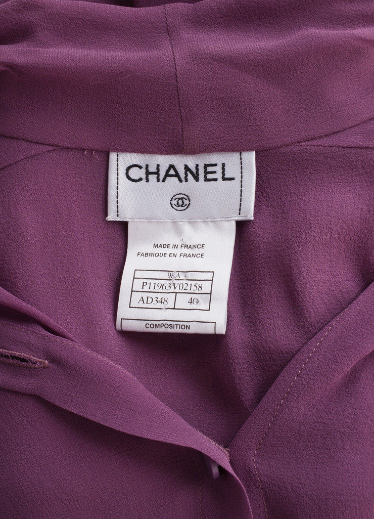 "Chanel Purple Silk Tie Collar ""CC"" Button Down Long Sleeve Blouse Brand"