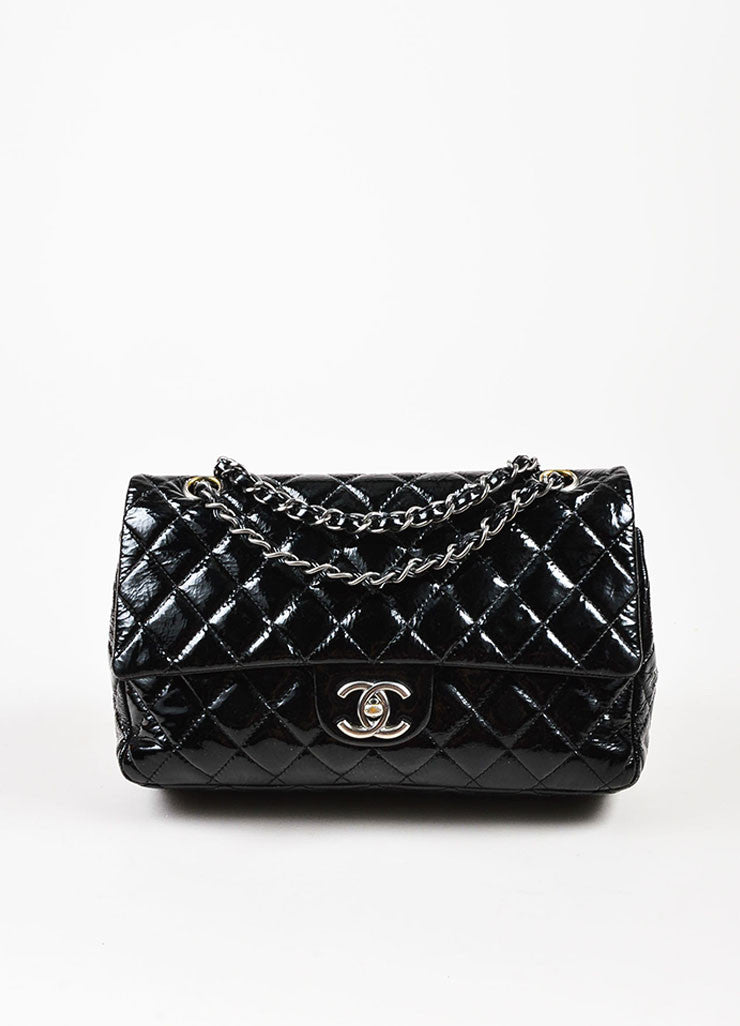 "Chanel Black Cracked Patent Silver Toned Chain ""Medium Classic Double Flap"" Bag Frontview"