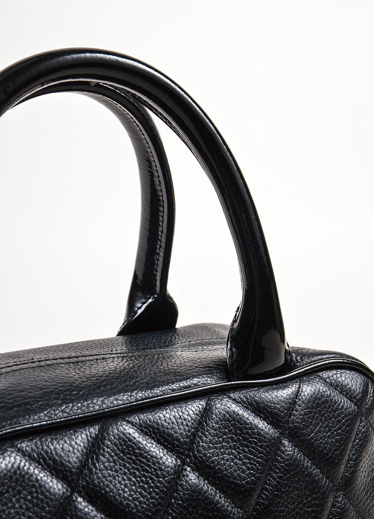 Chanel Black Leather Quilted Stitched Script Patent Top Handle Bowler Bag Detail 2