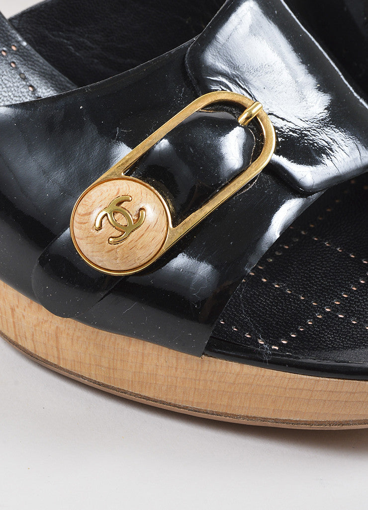 Chanel Black Patent Leather Gold Toned Wooden Buckle Heeled Mule Sandals Detail