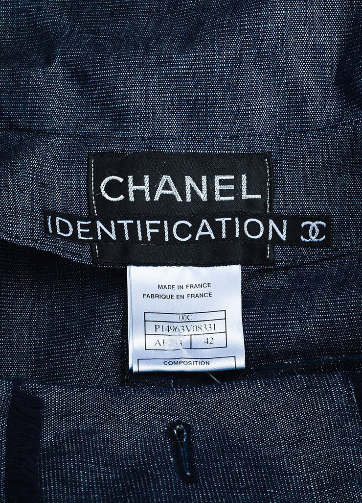 Chanel Denim Frayed Detail Cropped Sleeve Jacket Brand
