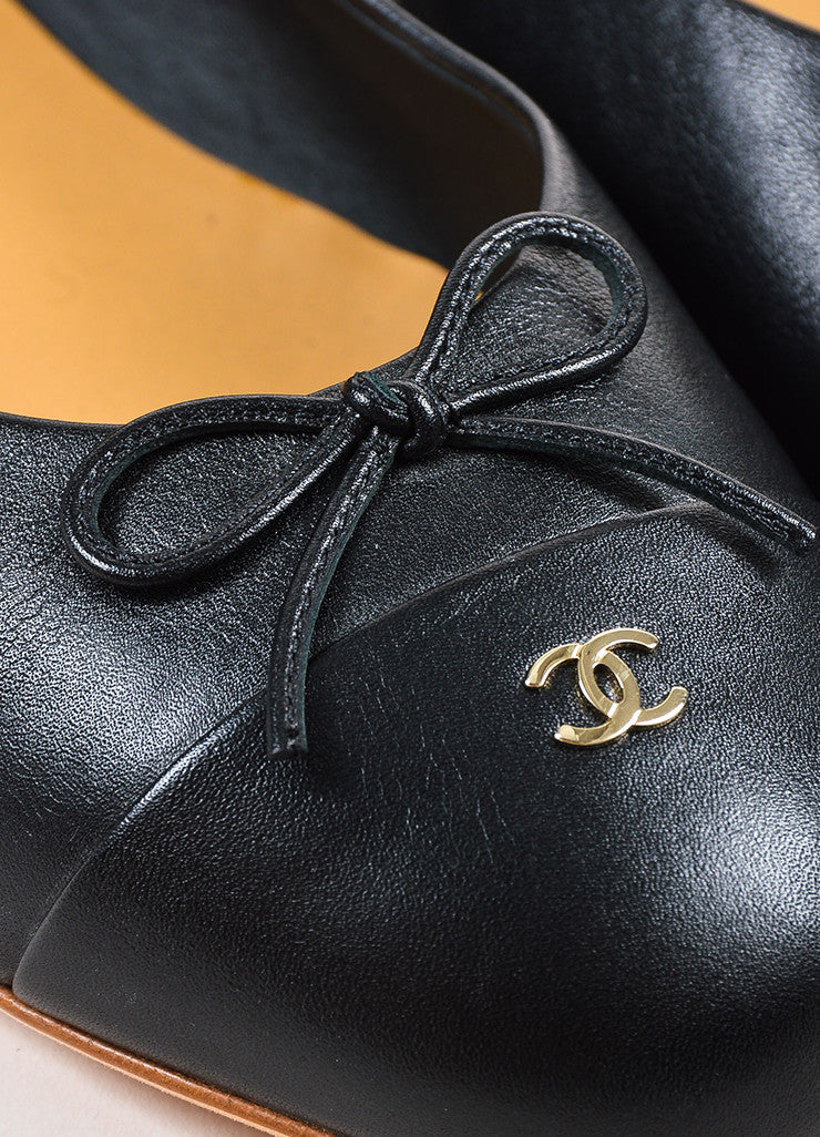 Chanel Black Leather Bow Cap Toe GHW 'CC' Ballerina Flats Detail