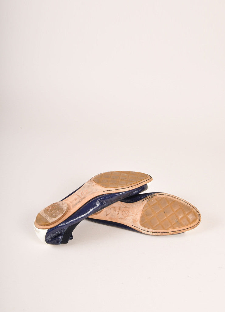 Chanel Navy and White Patent Leather Embossed Contrast Cap Toe Flats Outsoles