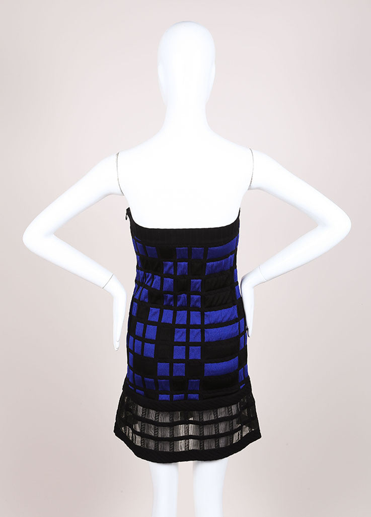 Chanel Blue and Black Knit Checkered Color Block Mesh Trim Strapless Dress Backview
