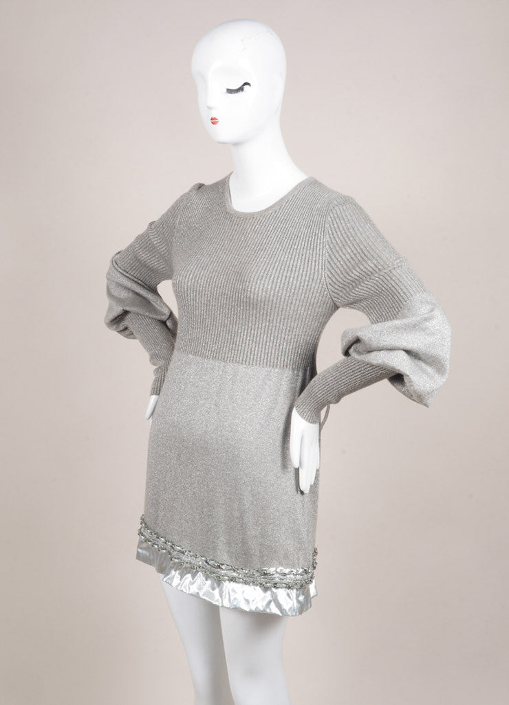 Chanel Silver Metallic Ribbed Knit Chain Link Trim Long Sleeve Sweater Dress Sideview