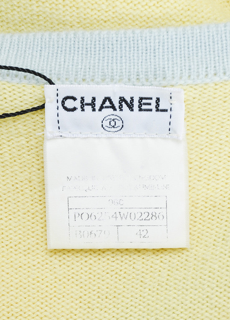 Chanel Yellow and Baby Blue Cashmere Cropped Sleeve Knit Cardigan Brand
