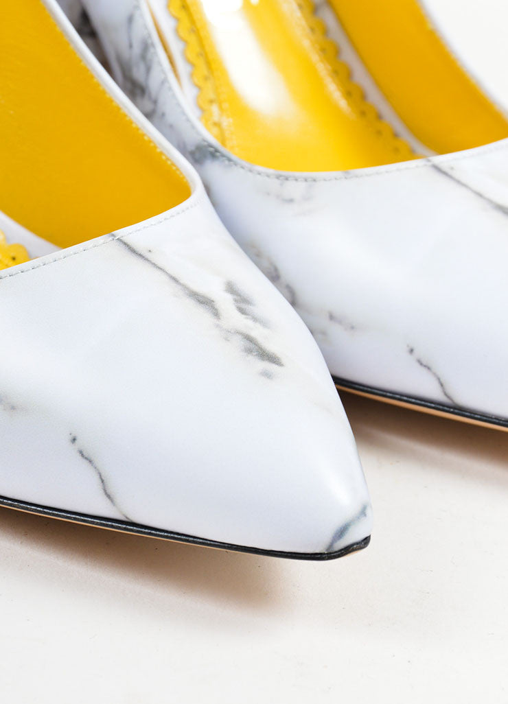 "Grey Leather Charlotte Olympia Marble Print ""Vendome"" Pumps Detail"