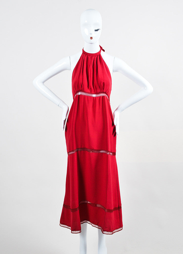 Chloe Red Crepe Sheer Stripe Panel Keyhole Halter Tie Matching Shawl Sleeveless Dress Frontview 2