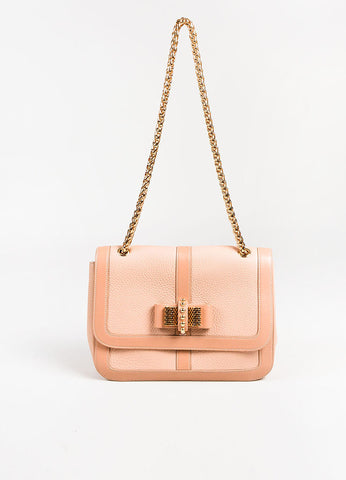 "Christian Louboutin GHW Nude Pebbled Leather Small ""Sweet Charity"" Bag frontview"