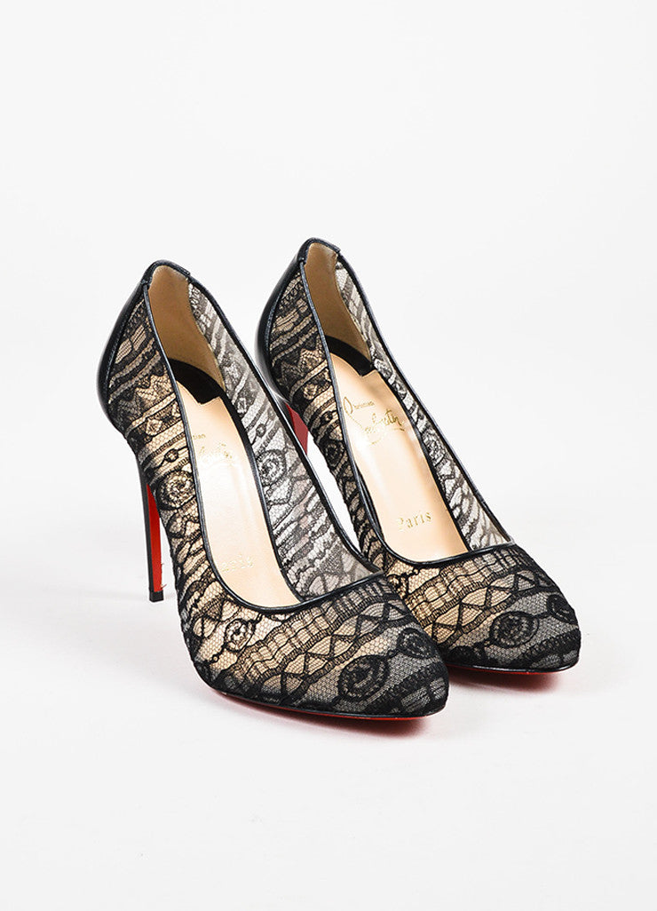 "Christian Louboutin Black Lace and Leather ""Dorissima Dentelle"" Pumps Frontview"