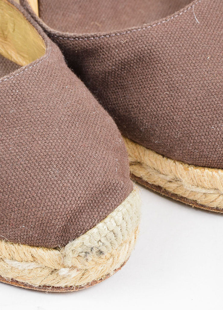 "Christian Louboutin Brown and Beige Canvas Round Toe ""Bridgette"" Espadrille Wedges Detail"