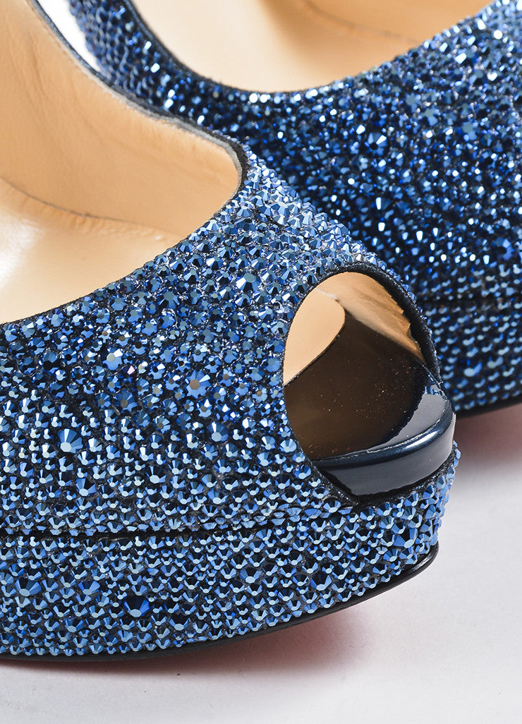 "Blue Christian Louboutin Crystal ""Lady Peep Strass 150"" Pumps Detail"