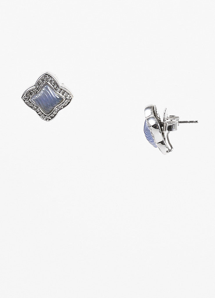 David Yurman White Gold, Chalcedony, and Diamond Quatrefoil Post Back Earrings Sideview