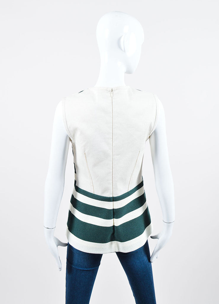 Cream and Green Derek Lam Woven Knit Striped Sleeveless Shift Top Backview