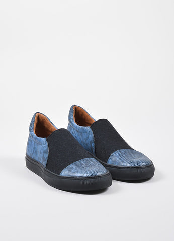 Dries Van Noten Blue and Black Lizard Embossed Leather Canvas Skate Sneakers Frontview