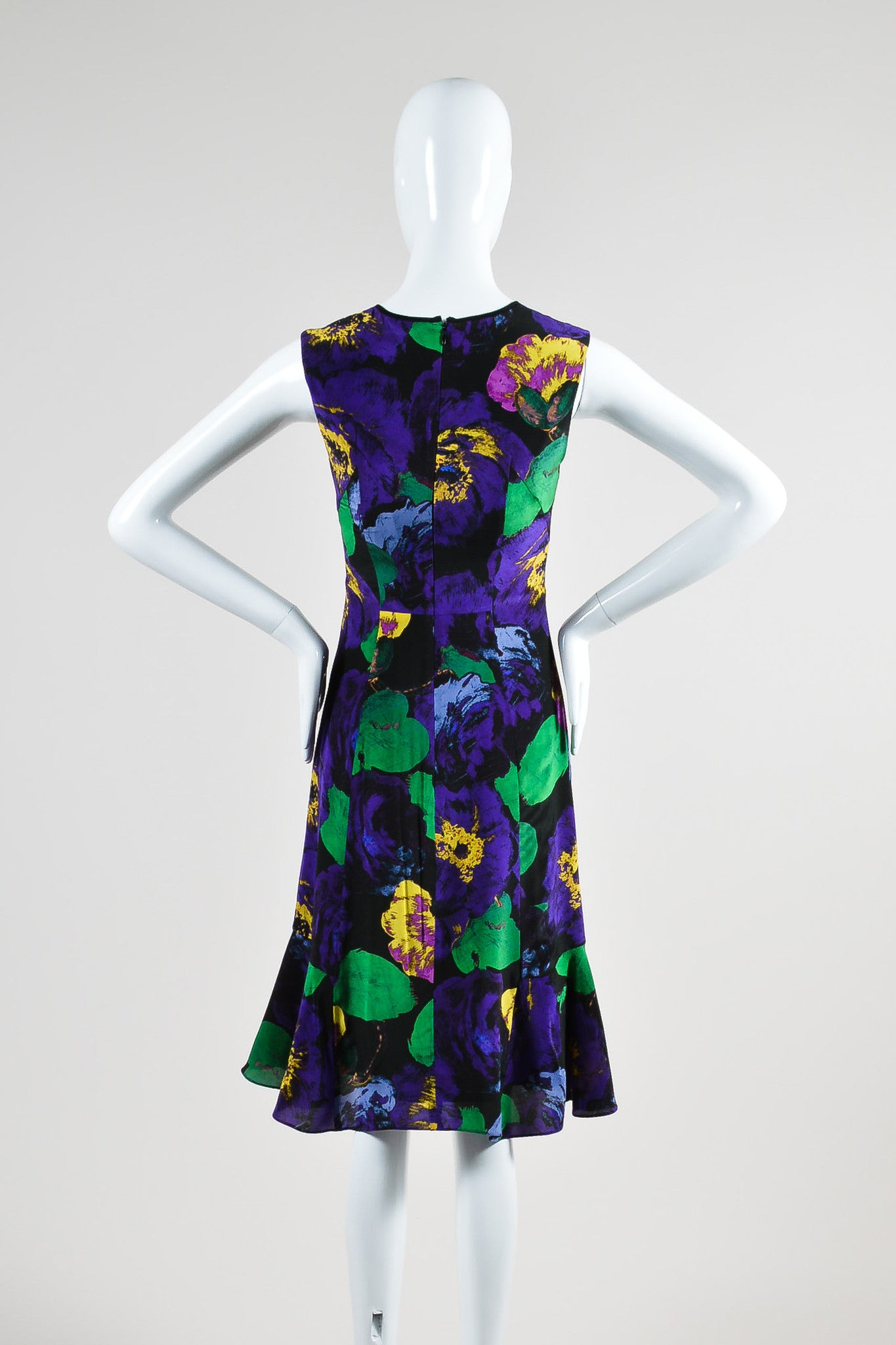 "Purple, Green, and Yellow Erdem Silk Floral Fit and Flare ""Jana"" Dress Backview"