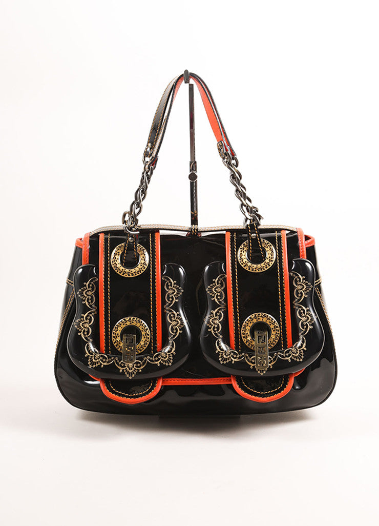 "Fendi Black and Red Patent Leather Acrylic Filigree Buckle ""B."" Bag Frontview"
