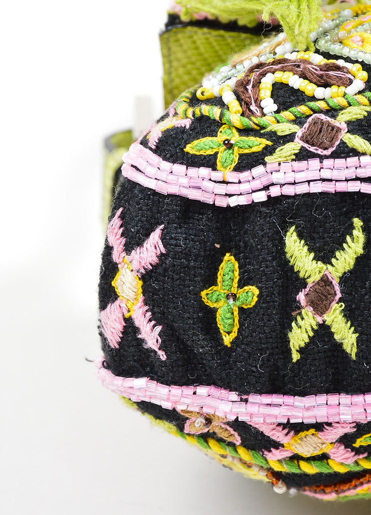 Black, Green, and Pink Fendi Lizard Skin Beaded and Embroidered Baguette Shoulder Bag Detail