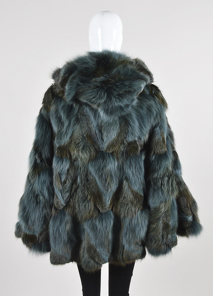 Feraud Blue and Brown Fur Sleeveless Hooded Cape Backview