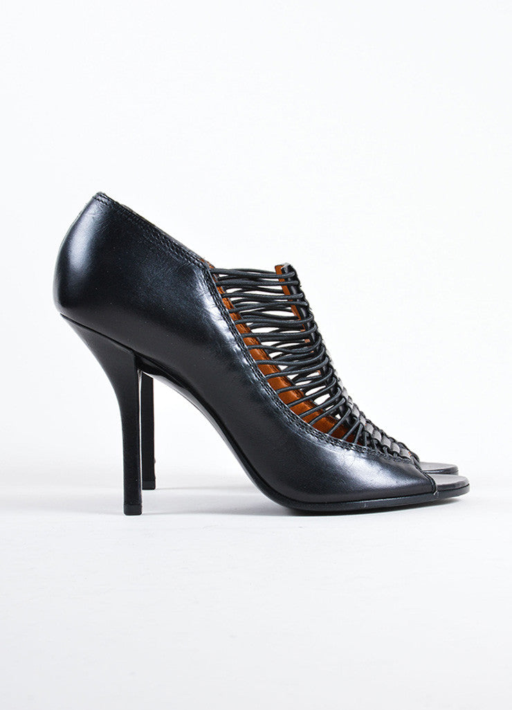 Givenchy Black Leather & Elastic Peep Toe High Heel Cage Pumps Side