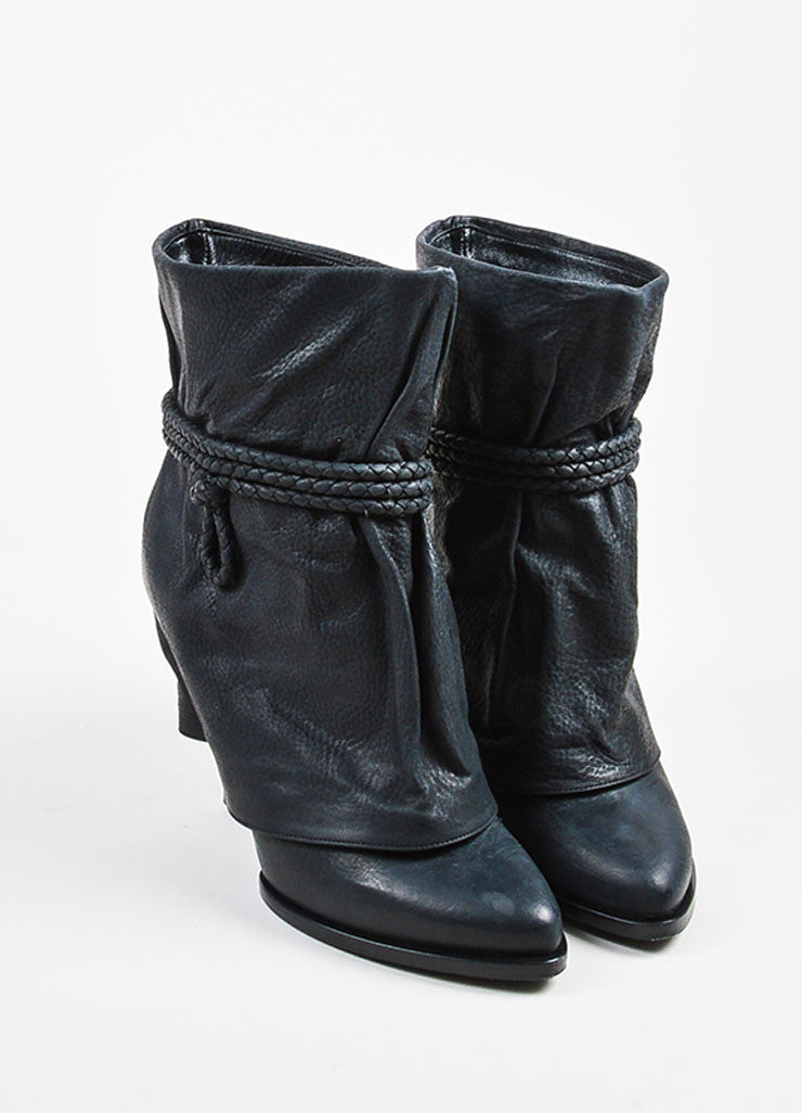 Givenchy Black Leather Fold Over Cord Wrap Heeled Booties- front