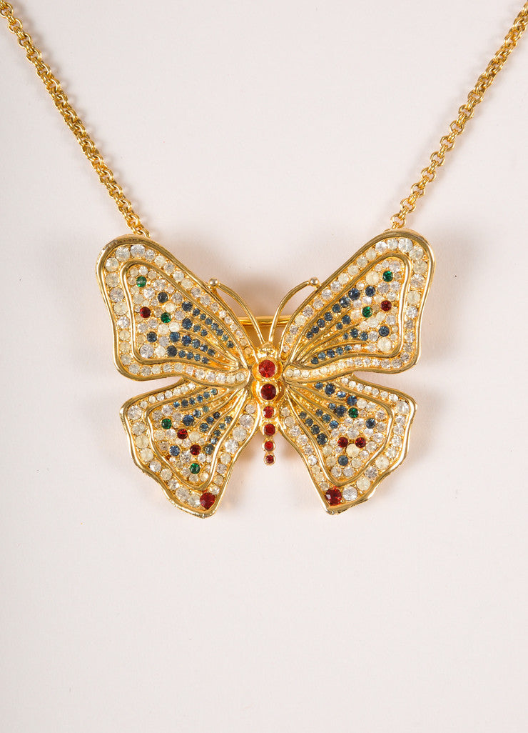Vintage Gold Toned, Red, and Green Rhinestone Butterfly Pendant Chain Link Necklace Detail