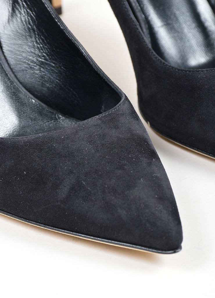 "Black Gucci Suede Pointed Toe ""Brooke 75mm"" Pumps Detail"