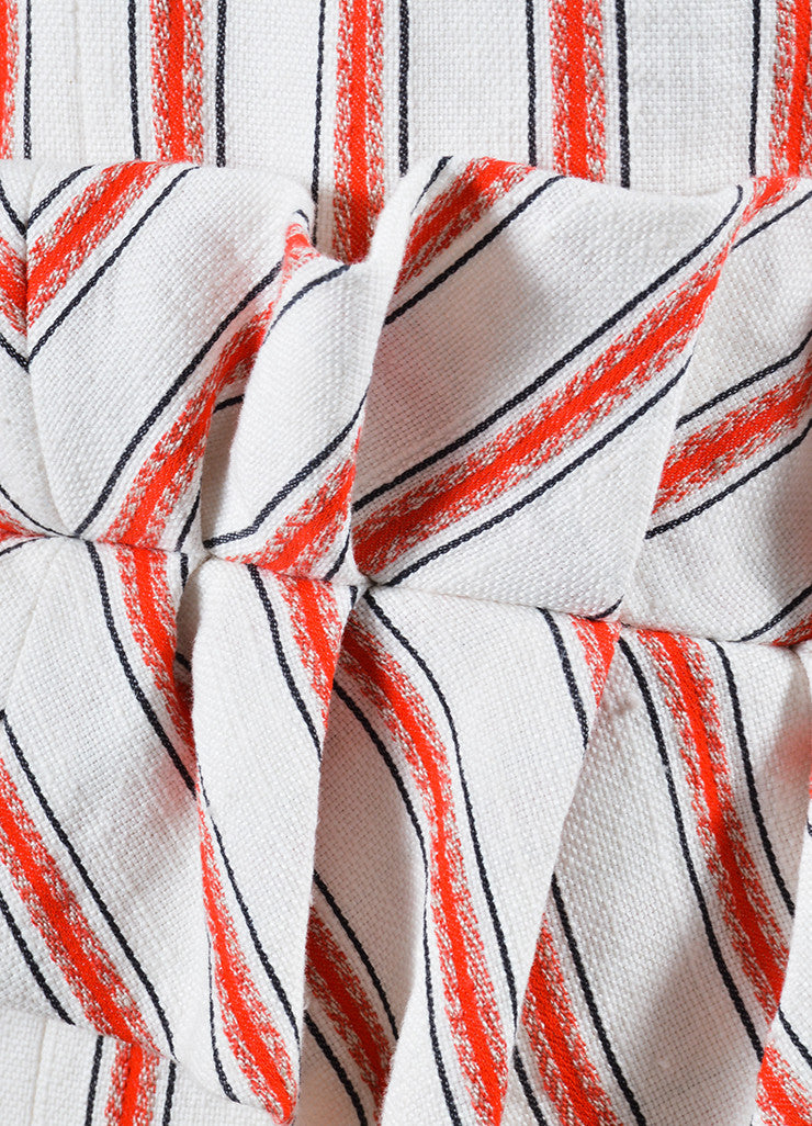 Hellessy White and Red Linen and Cotton Striped Ruffle Slit Maxi Dress Detail