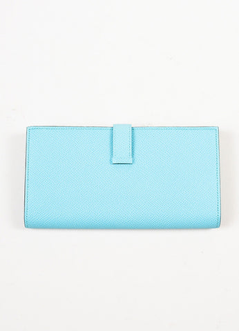 "Aqua Blue Hermes Epsom Leather ""Bearn"" Wallet Backview"