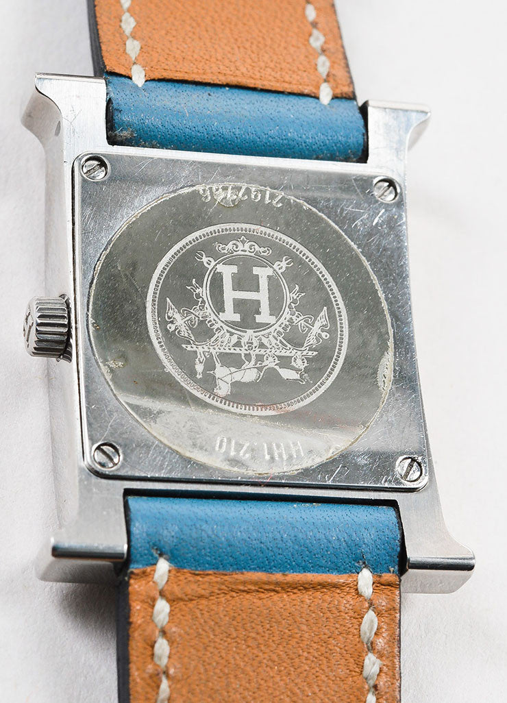 "Hermes Blue Jean Stainless Steel Leather Strap ""Heure H PM"" Wrist Watch Brand"