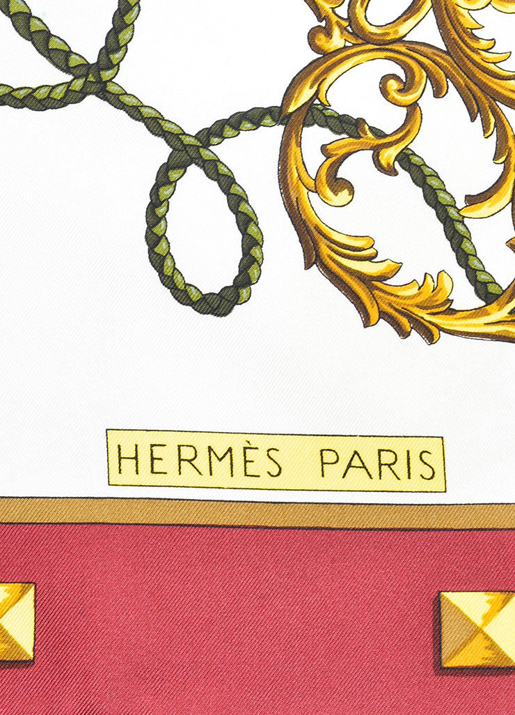 "Maroon, White, and Gold Hermes ""Les Cles"" Key Print Silk Square Scarf Detail 3"