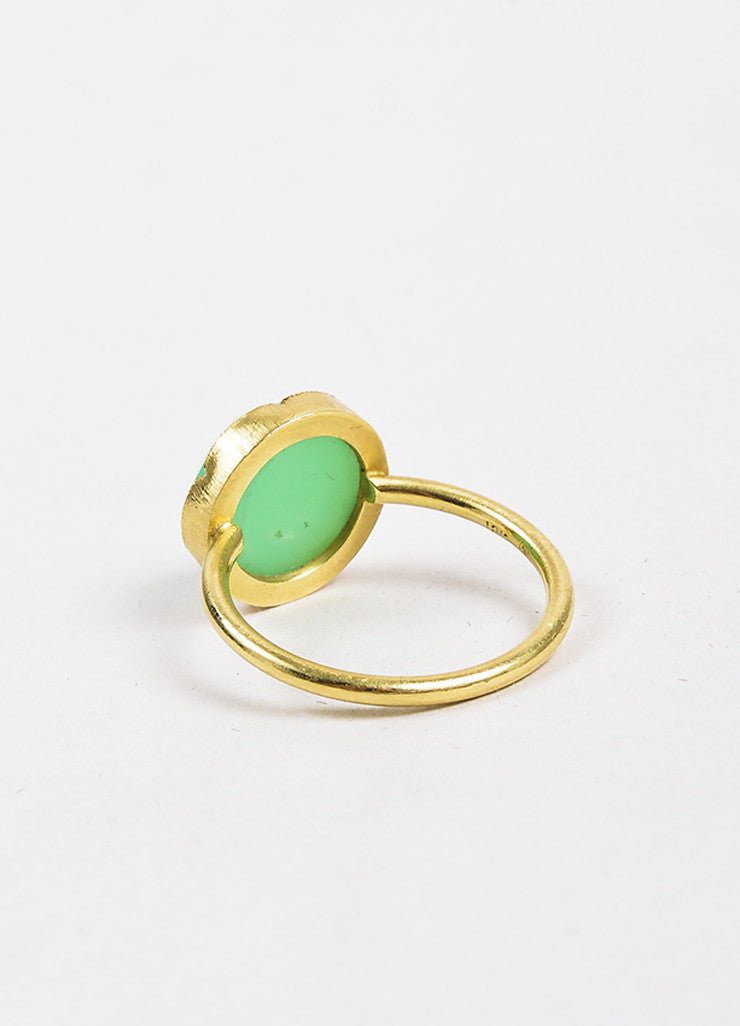 Irene Neuwirth Green Chrysoprase Gemstone and 18k Yellow Gold Ring backview