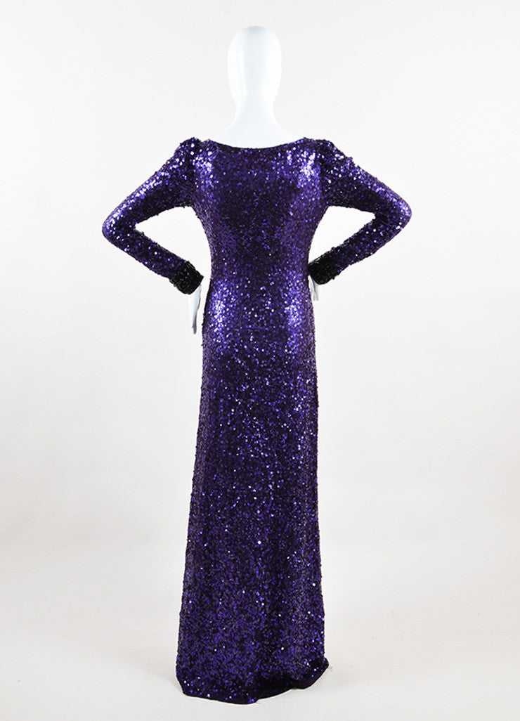 Jenny Packham Purple Sequin Embellished Long Sleeve Gown Backview
