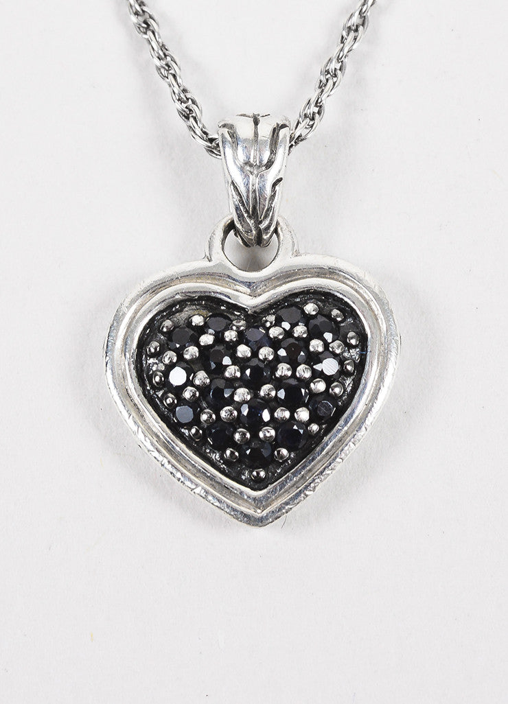 John Hardy Sterling Silver & Black Sapphire Heart Shaped Necklace Detail
