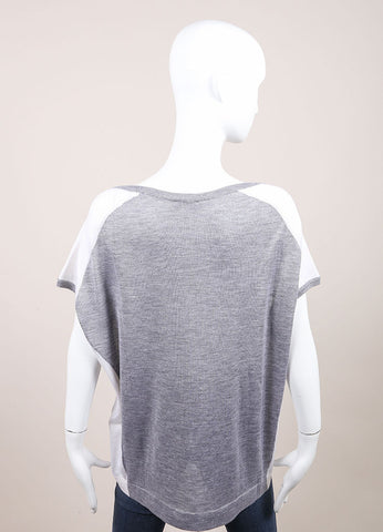 Leetha New With Tags Grey and White Paneled Cashmere and Silk Knit Cap Sleeve Sweater Backview