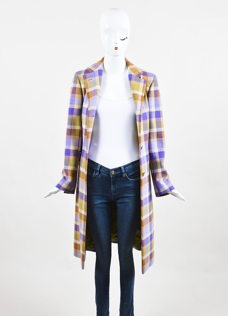 Loro Piana Tan, Purple, and Green Wool Chevron Plaid Button Up Coat Frontview