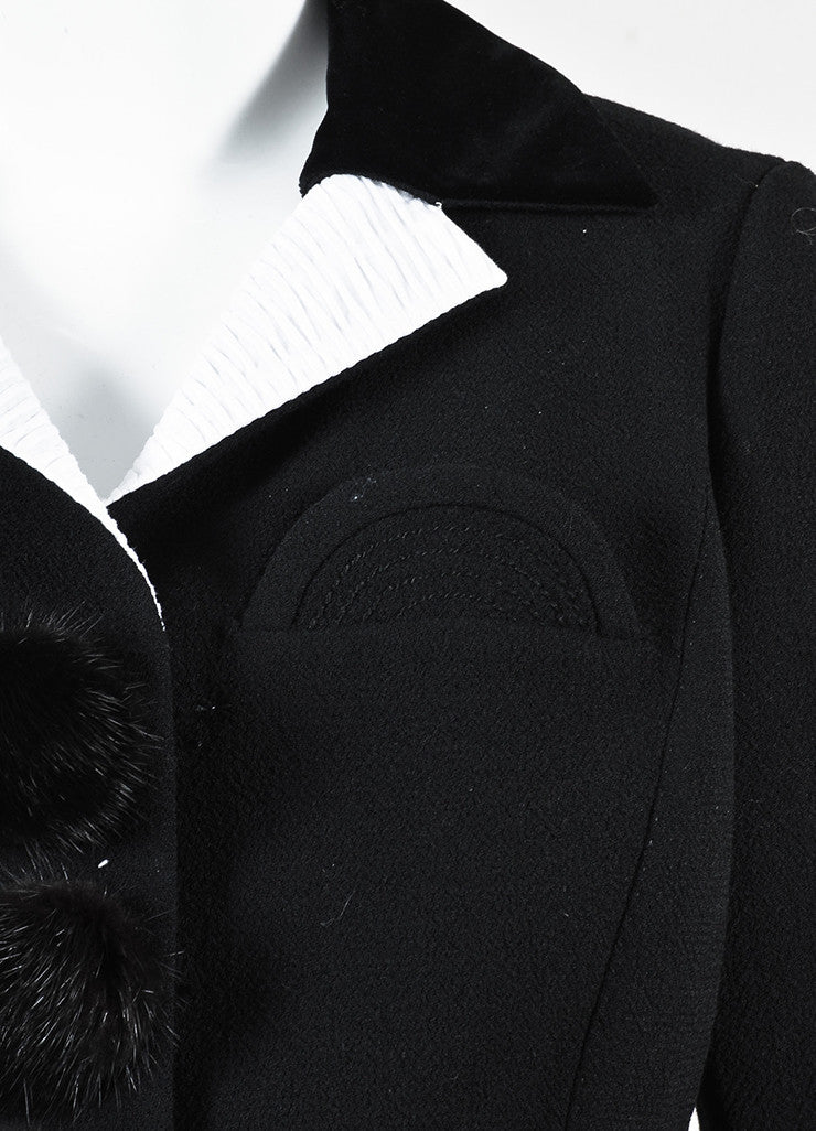 Louis Vuitton Black White Wool Mink Button Stitched Peplum Jacket Detail