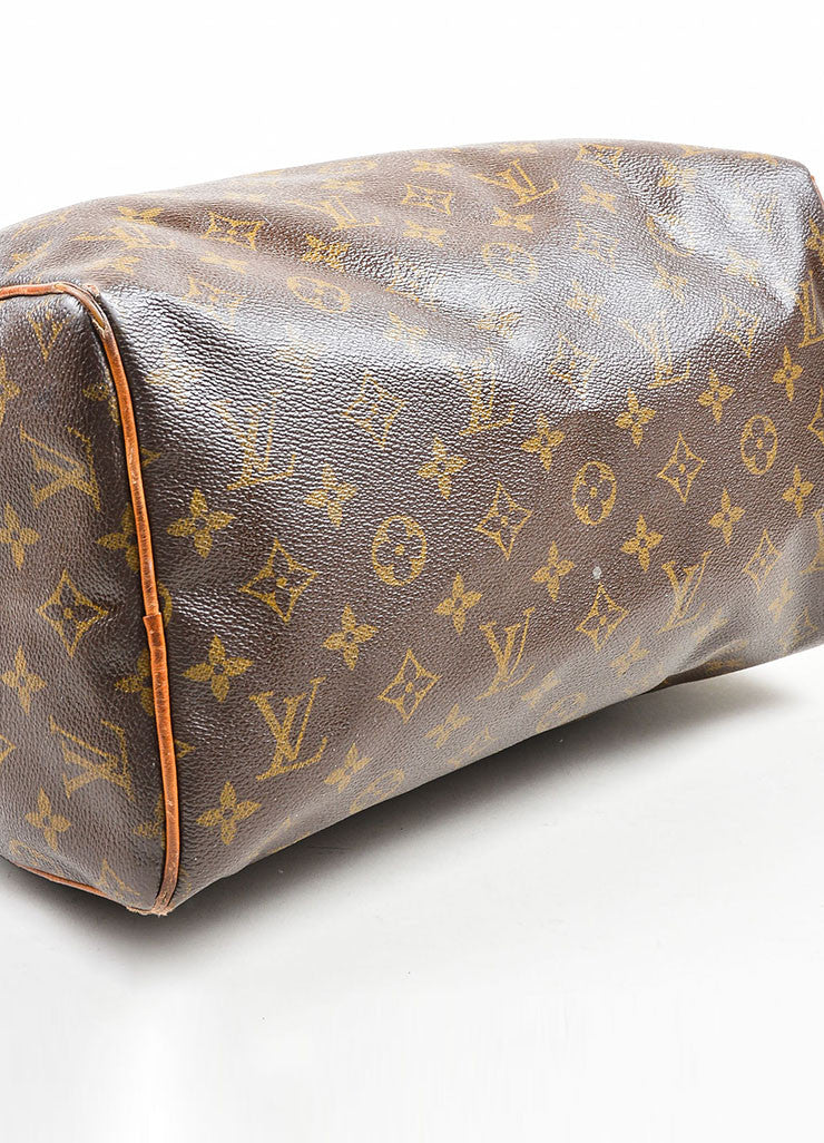 Brown Louis Vuitton Monogram Canvas Speedy 30cm Duffel Bag Bottom View