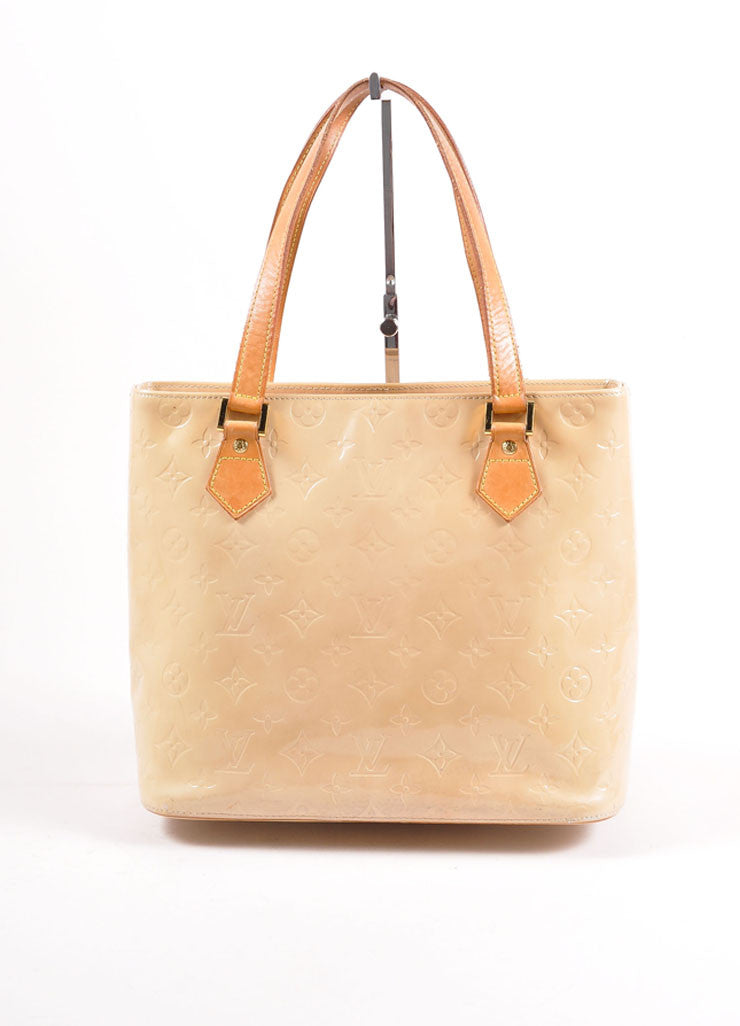 "Louis Vuitton Cream Monogram Vernis ""Houston"" Tote Bag Frontview"