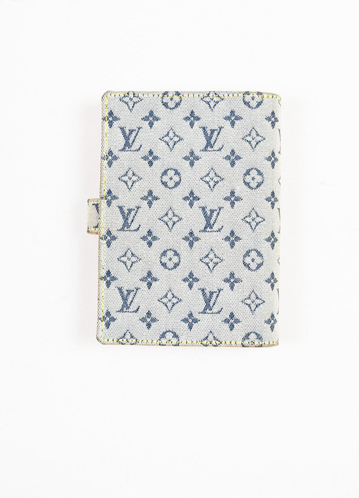 "Louis Vuitton Grey and Blue Canvas Monogram ""Mini Lin Small Agenda"" Cover Backview"