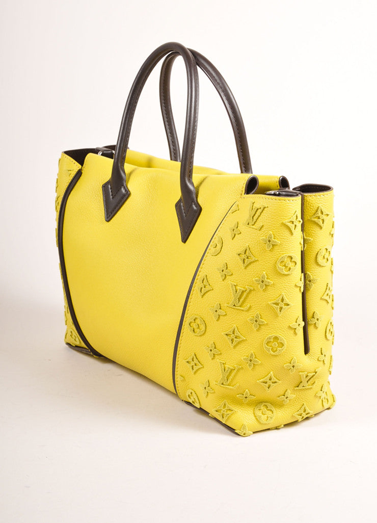 "Louis Vuitton NWT $4600 Yellow ""Pistache"" Tuffetage Parnasse Leather ""W"" PM Bag Side View"