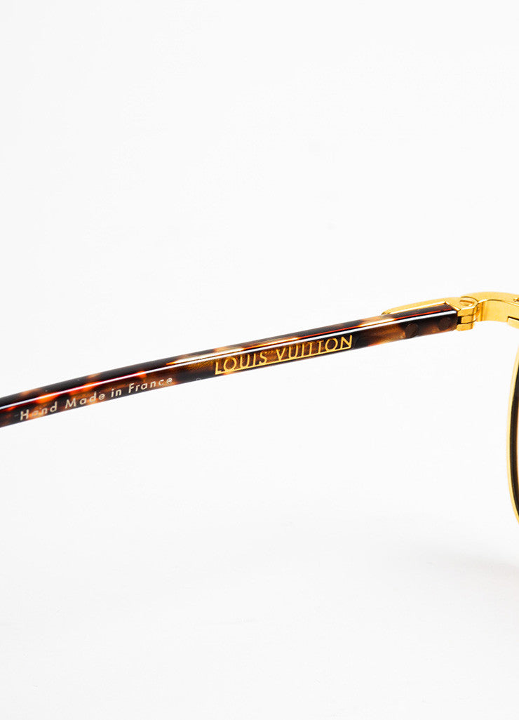 "Men's Louis Vuitton Tortoise and Gold Toned ""Conspiration Pilote"" Aviator Sunglasses Brand"