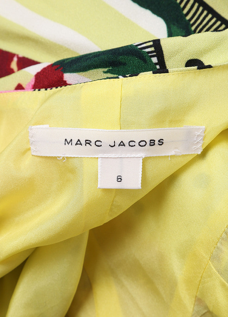 Marc Jacobs New With Tags Multicolor Floral Print Cap Sleeve Open Back Dress Brand