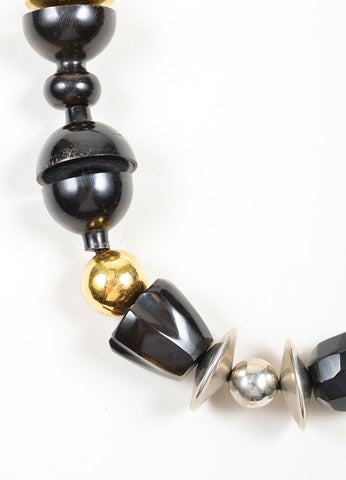 Marni Black, Silver, and Gold Toned Metal and Wood Chunky Beaded Ribbon Necklace Detail