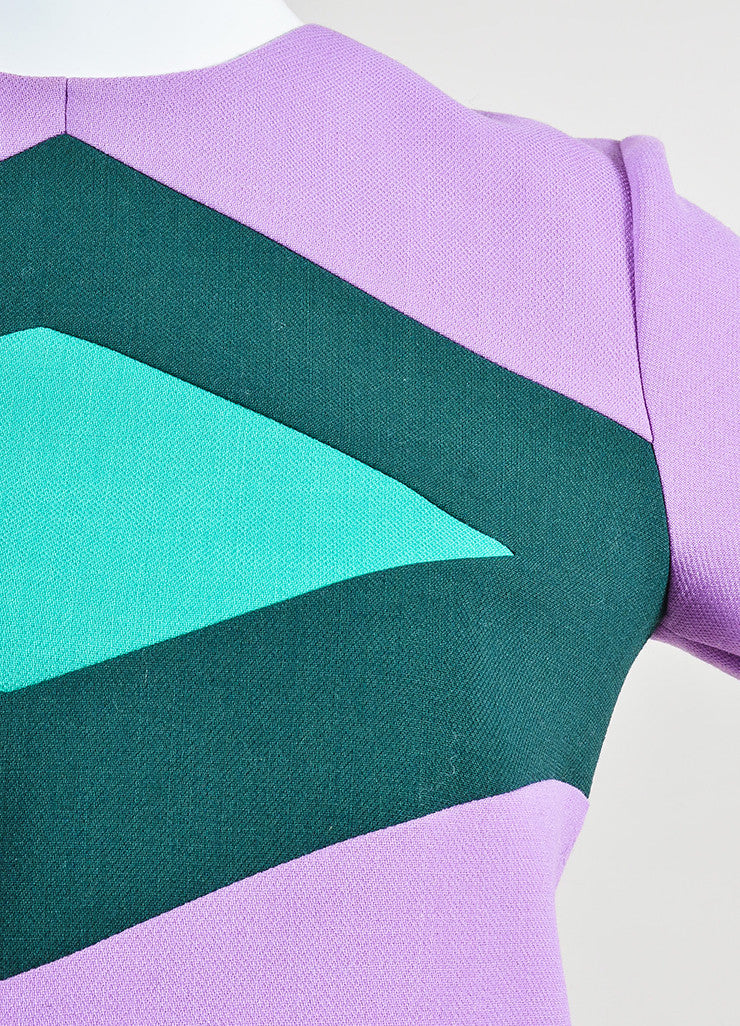 Purple and Two-Tone Green Marni Wool Mini Mod Shift Dress Detail