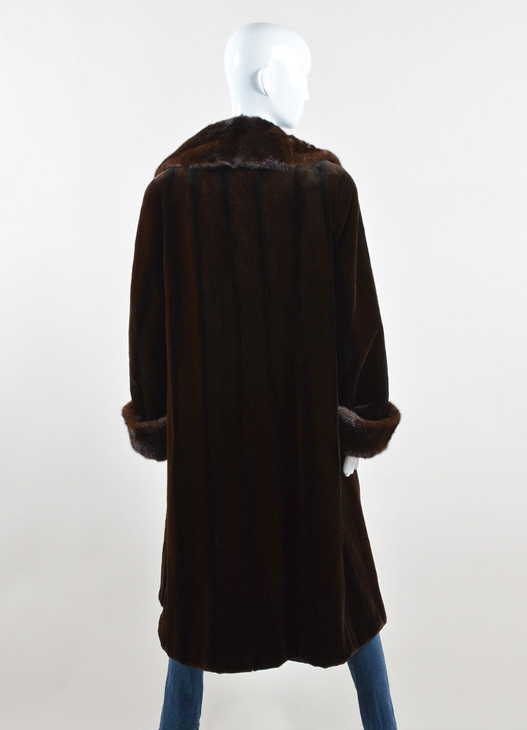 Maximilian Alta Moda Brown Sheared Mink Reversible Coat Back 2
