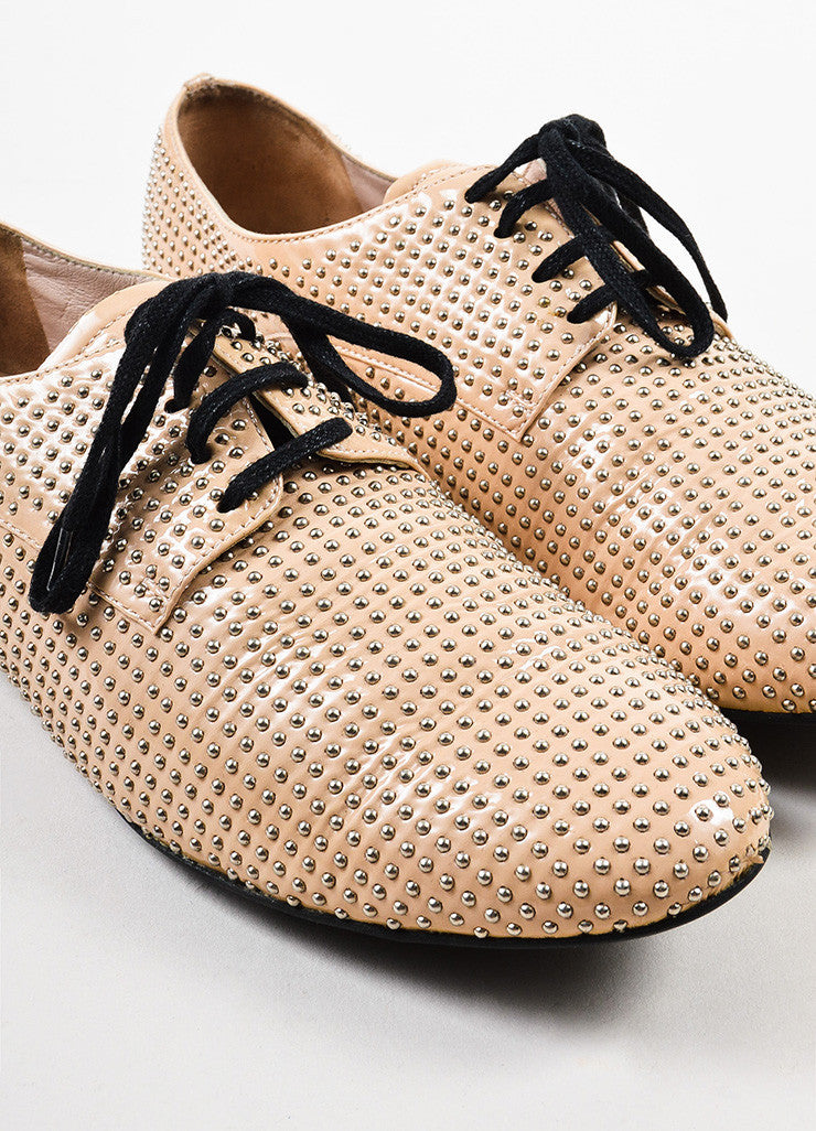 Beige and Silver Miu Miu Studded Leather Oxfords Detail