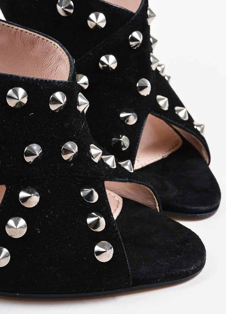 Miu Miu Black and Silver Toned Suede Studded Peep Toe Heeled Mules Detail